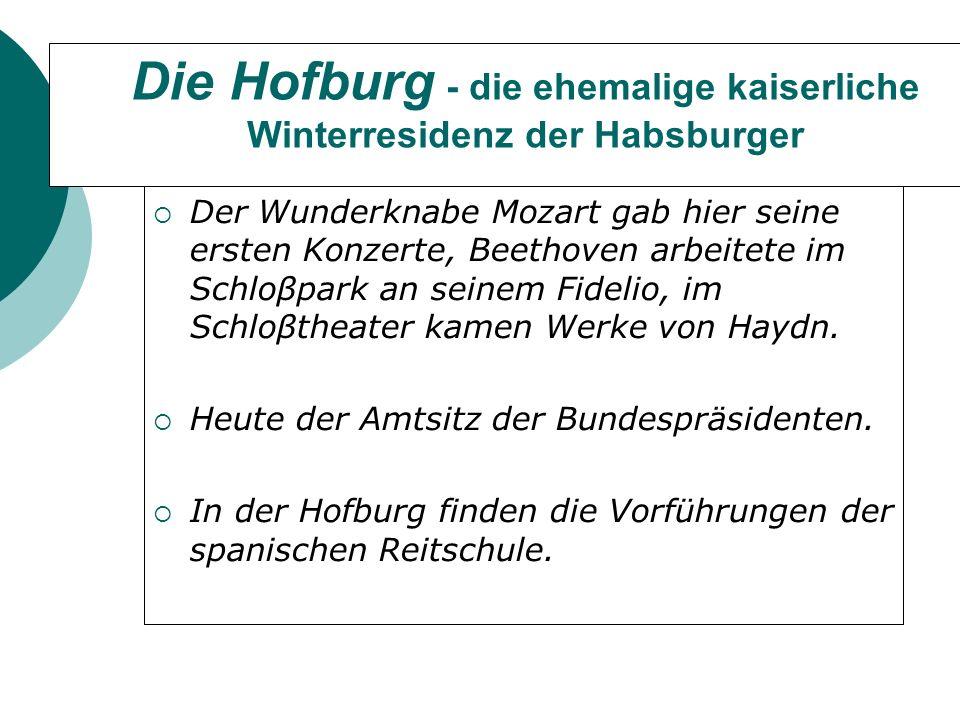Die Hofburg - die ehemalige kaiserliche Winterresidenz der Habsburger Der Wunderknabe Mozart gab hier seine ersten Konzerte, Beethoven arbeitete im Schloβpark an seinem Fidelio, im Schloβtheater kamen Werke von Haydn.