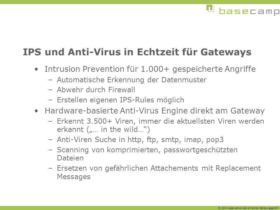 © 2004 base-camp Kadl & Partner BeratungsgmbH IPS und Anti-Virus in Echtzeit für Gateways Intrusion Prevention für 1.000+ gespeicherte Angriffe –Autom