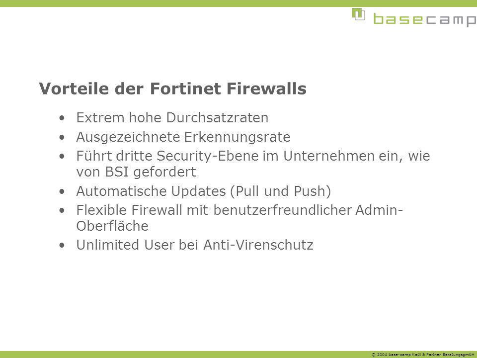 © 2004 base-camp Kadl & Partner BeratungsgmbH Vorteile der Fortinet Firewalls Extrem hohe Durchsatzraten Ausgezeichnete Erkennungsrate Führt dritte Se