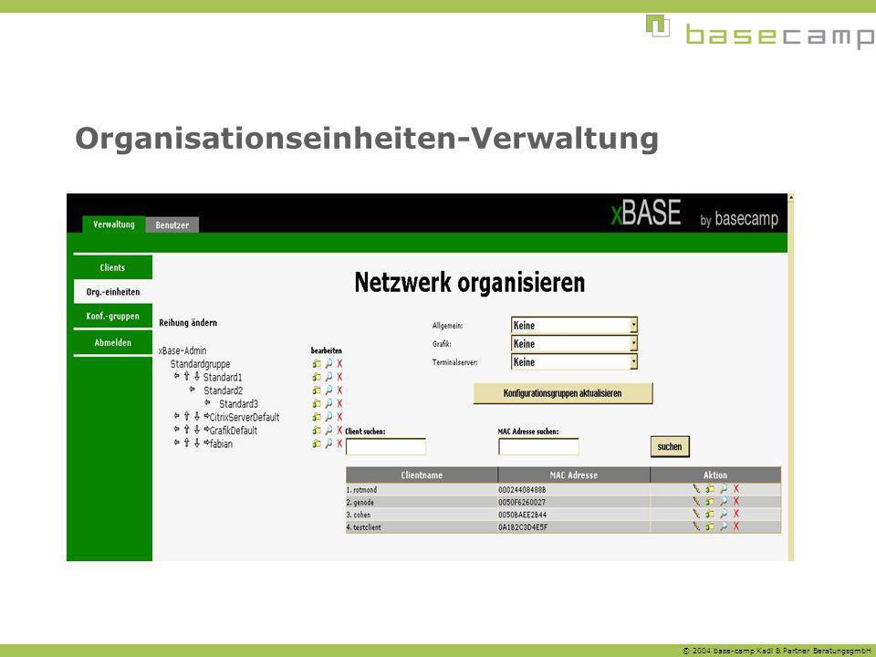 © 2004 base-camp Kadl & Partner BeratungsgmbH Organisationseinheiten-Verwaltung