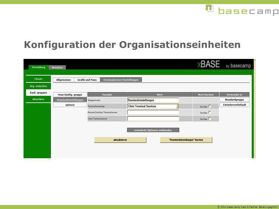 © 2004 base-camp Kadl & Partner BeratungsgmbH Konfiguration der Organisationseinheiten