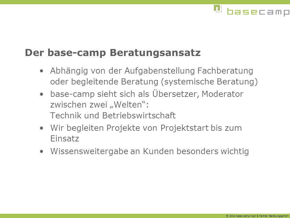 © 2004 base-camp Kadl & Partner BeratungsgmbH Der base-camp Beratungsansatz Abhängig von der Aufgabenstellung Fachberatung oder begleitende Beratung (