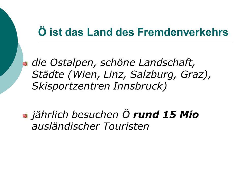 Ö ist das Land des Fremdenverkehrs die Ostalpen, schöne Landschaft, Städte (Wien, Linz, Salzburg, Graz), Skisportzentren Innsbruck) jährlich besuchen