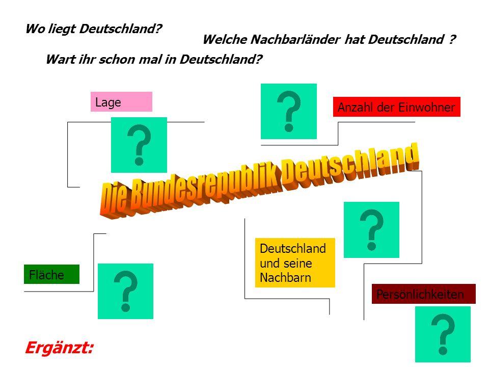 Fläche Lage Deutschland und seine Nachbarn Anzahl der Einwohner Persönlichkeiten Wo liegt Deutschland? Welche Nachbarländer hat Deutschland ? Wart ihr