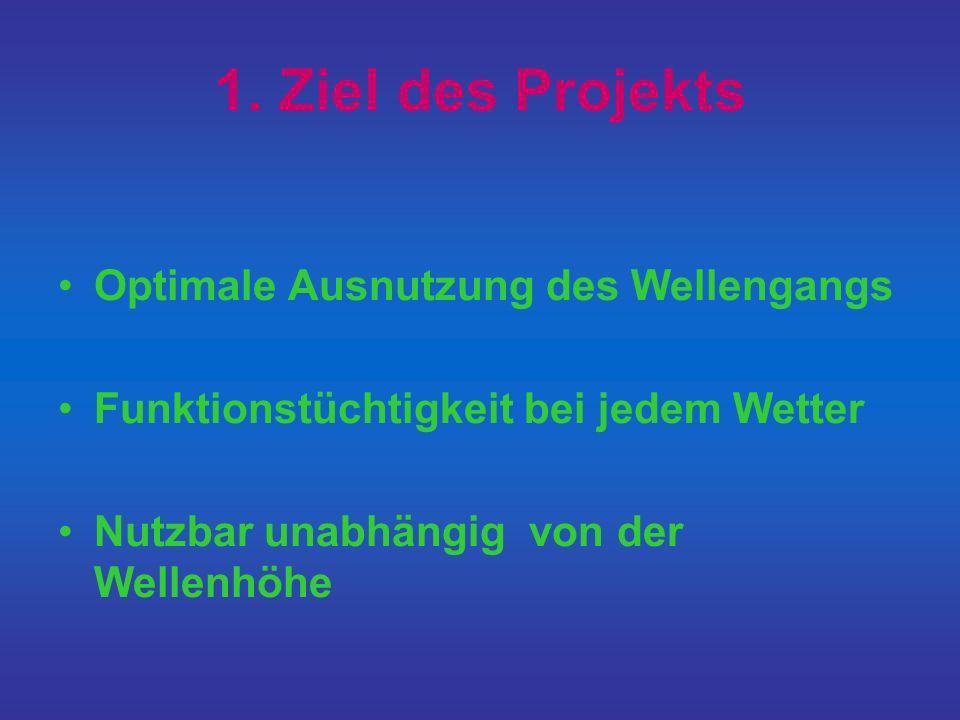 1. Ziel des Projekts Optimale Ausnutzung des Wellengangs Funktionstüchtigkeit bei jedem Wetter Nutzbar unabhängig von der Wellenhöhe
