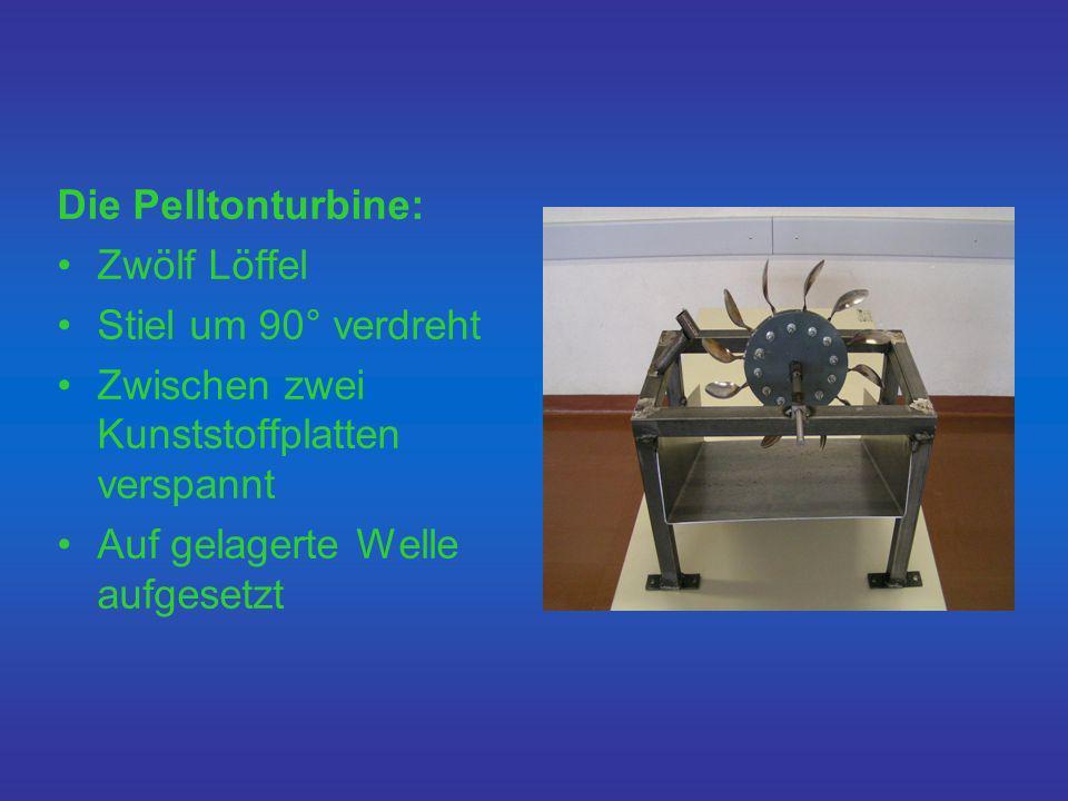 Die Pelltonturbine: Zwölf Löffel Stiel um 90° verdreht Zwischen zwei Kunststoffplatten verspannt Auf gelagerte Welle aufgesetzt