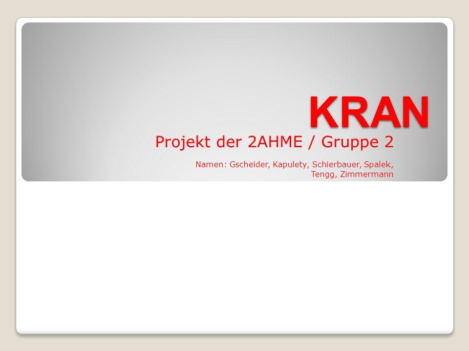 KRAN Projekt der 2AHME / Gruppe 2 Namen: Gscheider, Kapulety, Schierbauer, Spalek, Tengg, Zimmermann