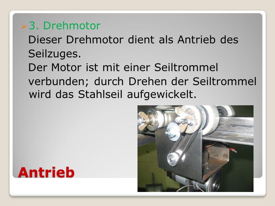 Antrieb 3. Drehmotor Dieser Drehmotor dient als Antrieb des Seilzuges. Der Motor ist mit einer Seiltrommel verbunden; durch Drehen der Seiltrommel wir