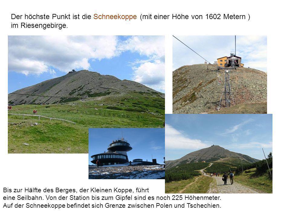 Der höchste Punkt ist die Schneekoppe (mit einer Höhe von 1602 Metern ) im Riesengebirge.