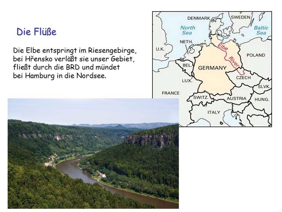 Die Flüße Die Elbe entspringt im Riesengebirge, bei Hřensko verläßt sie unser Gebiet, fließt durch die BRD und mündet bei Hamburg in die Nordsee.