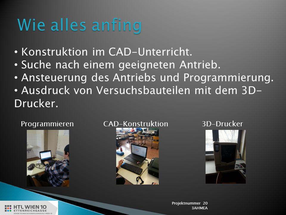 Konstruktion im CAD-Unterricht. Suche nach einem geeigneten Antrieb.