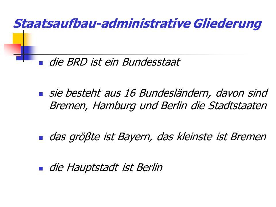 Staatsaufbau-administrative Gliederung die BRD ist ein Bundesstaat sie besteht aus 16 Bundesländern, davon sind Bremen, Hamburg und Berlin die Stadtst