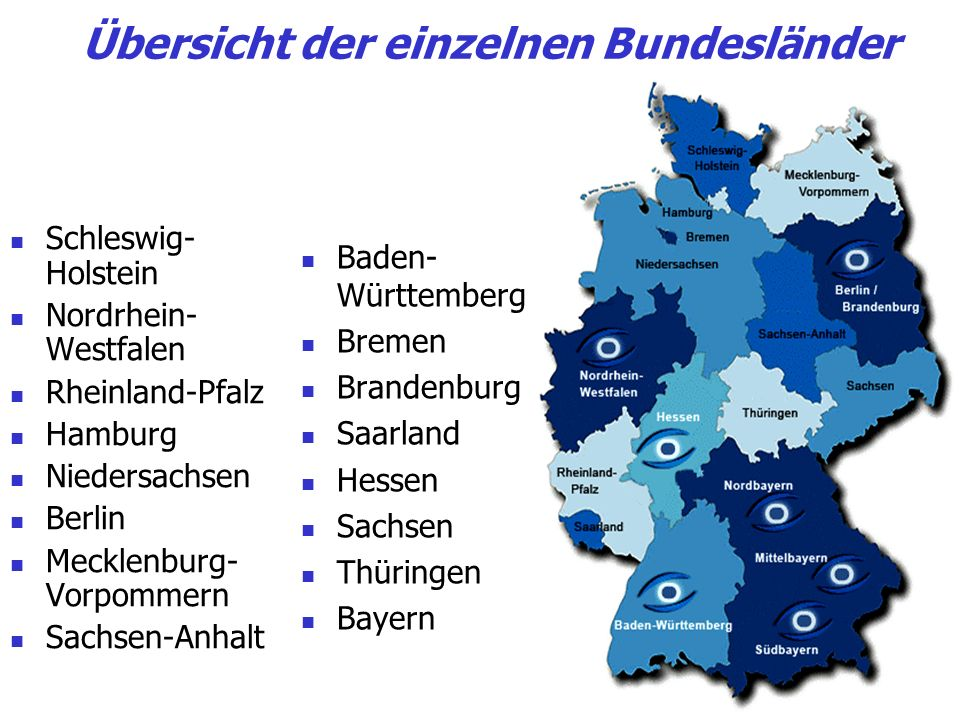 Übersicht der einzelnen Bundesländer Schleswig- Holstein Nordrhein- Westfalen Rheinland-Pfalz Hamburg Niedersachsen Berlin Mecklenburg- Vorpommern Sac