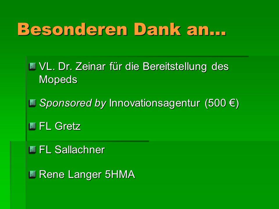 Besonderen Dank an… VL. Dr. Zeinar für die Bereitstellung des Mopeds Sponsored by Innovationsagentur (500 ) FL Gretz FL Sallachner Rene Langer 5HMA