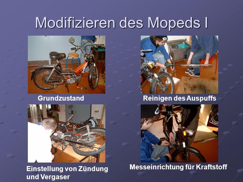 Modifizieren des Mopeds I GrundzustandReinigen des Auspuffs Einstellung von Zündung und Vergaser Messeinrichtung für Kraftstoff