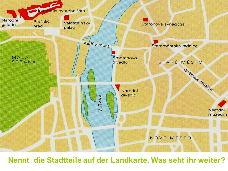 Nennt die Stadtteile auf der Landkarte. Was seht ihr weiter