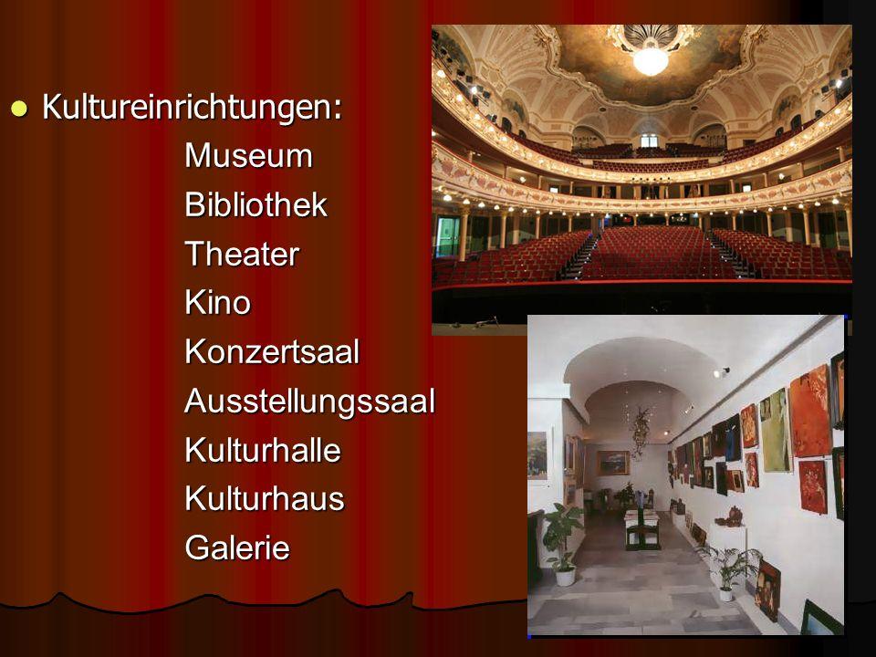 Kultureinrichtungen: Museum Bibliothek Theater Kino Konzertsaal Ausstellungssaal Kulturhalle Kulturhaus Galerie