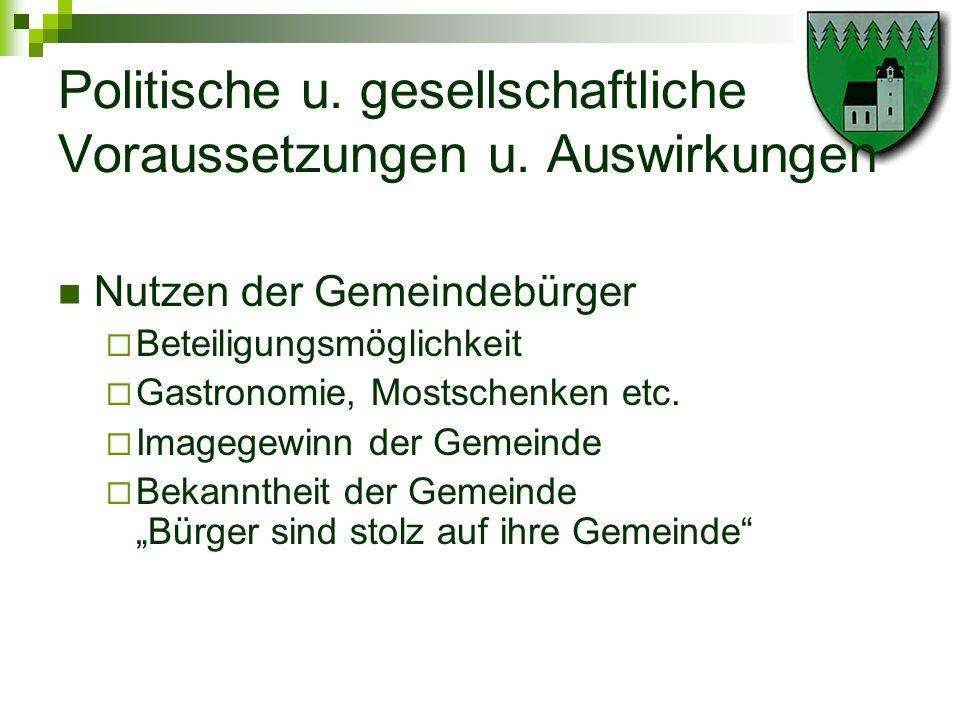 Politische u. gesellschaftliche Voraussetzungen u. Auswirkungen Nutzen der Gemeindebürger Beteiligungsmöglichkeit Gastronomie, Mostschenken etc. Image