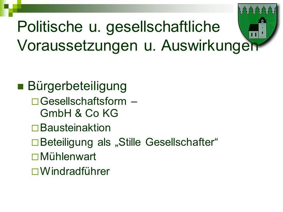 Politische u. gesellschaftliche Voraussetzungen u. Auswirkungen Bürgerbeteiligung Gesellschaftsform – GmbH & Co KG Bausteinaktion Beteiligung als Stil