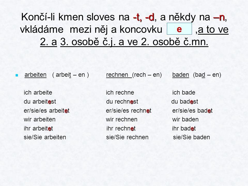U sloves,jejichž kmen končí na –s, -ss, -ß,-z, - tz, atd., odpadá ve 2.