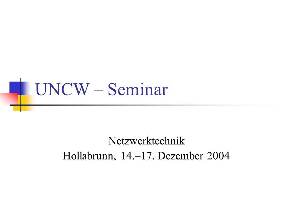 UNCW – Seminar Die verwendeten Grafiken stammen aus dem CCNA Curriculum 2.1.x von CISCO –Systems.