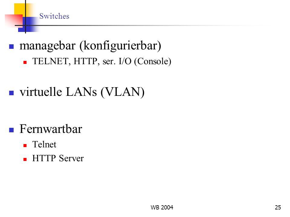 WB 200425 Switches managebar (konfigurierbar) TELNET, HTTP, ser. I/O (Console) virtuelle LANs (VLAN) Fernwartbar Telnet HTTP Server