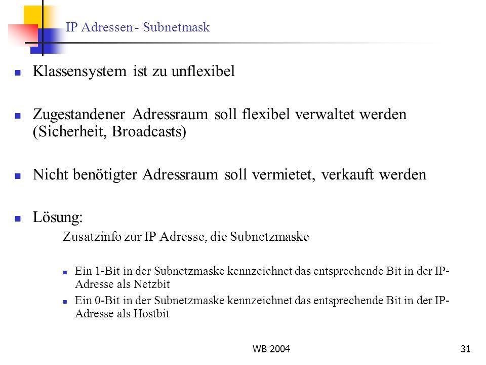 WB 200431 IP Adressen - Subnetmask Klassensystem ist zu unflexibel Zugestandener Adressraum soll flexibel verwaltet werden (Sicherheit, Broadcasts) Ni