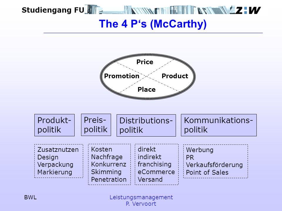 Studiengang FU BWLLeistungsmanagement P. Vervoort The 4 Ps (McCarthy) ProductPromotion Price Place Produkt- politik Preis- politik Distributions- poli