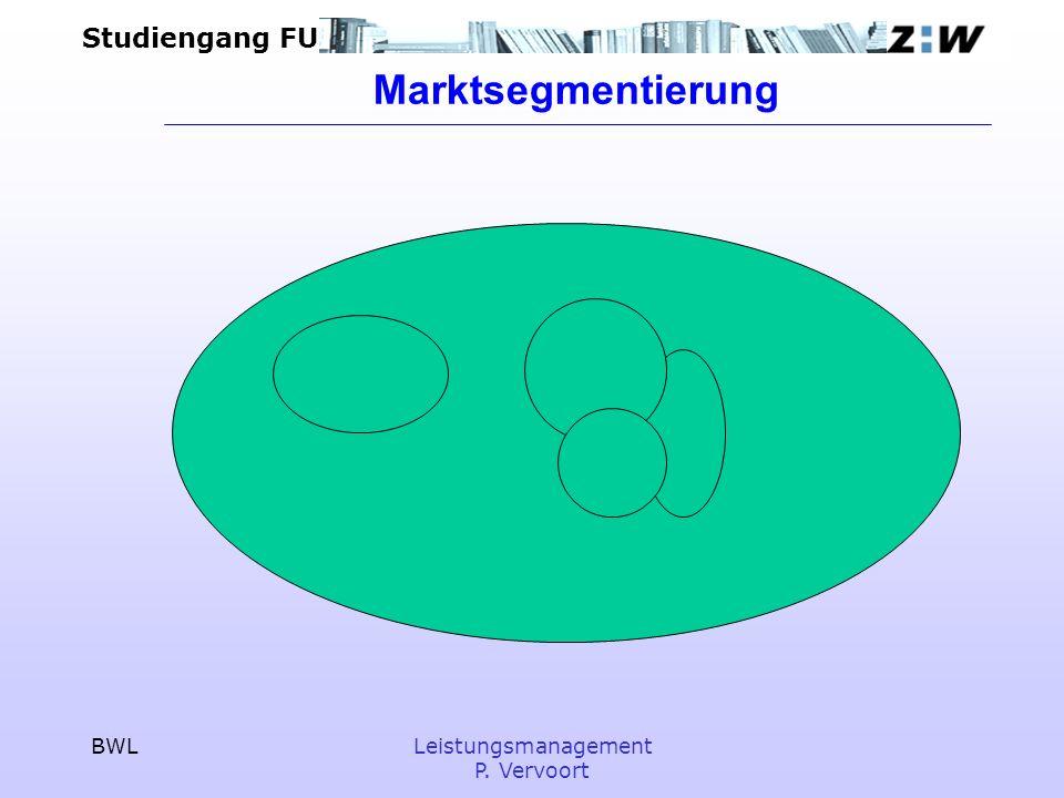 Studiengang FU BWLLeistungsmanagement P. Vervoort Marktsegmentierung