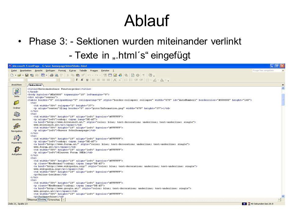 Phase 3: - Sektionen wurden miteinander verlinkt - Texte in.html´s eingefügt