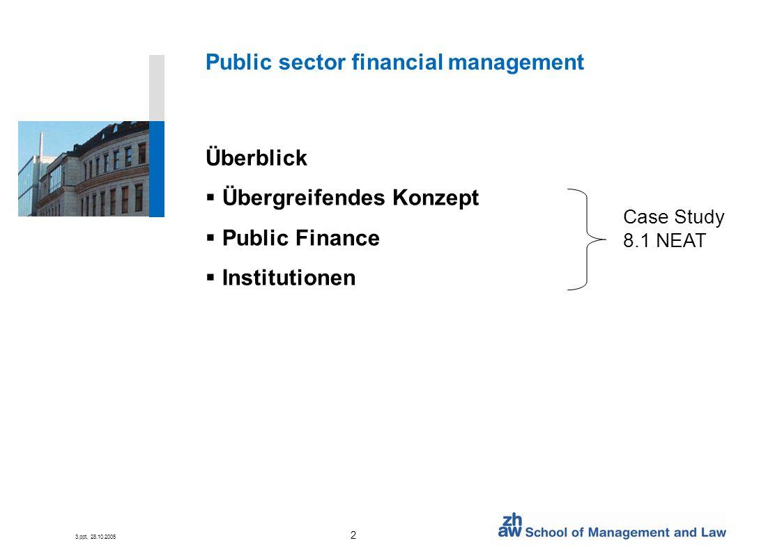 3.ppt, FS07/08 3 Public Sector Financial Management Lernziele Beschreibe den Umfang von Public sector financial management Identifiziere die Ziele von Public Sector Financial Management Beschreibe die Aufgaben von Finanz-Managern Verbessere die Strukturen im öffentlichen Finanzmanagement