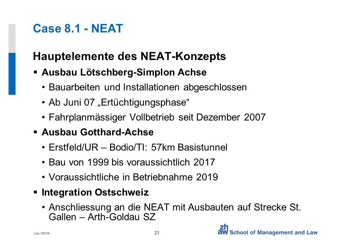 3.ppt, FS07/08 21 Case 8.1 - NEAT Hauptelemente des NEAT-Konzepts Ausbau Lötschberg-Simplon Achse Bauarbeiten und Installationen abgeschlossen Ab Juni 07 Ertüchtigungsphase Fahrplanmässiger Vollbetrieb seit Dezember 2007 Ausbau Gotthard-Achse Erstfeld/UR – Bodio/TI: 57km Basistunnel Bau von 1999 bis voraussichtlich 2017 Voraussichtliche in Betriebnahme 2019 Integration Ostschweiz Anschliessung an die NEAT mit Ausbauten auf Strecke St.