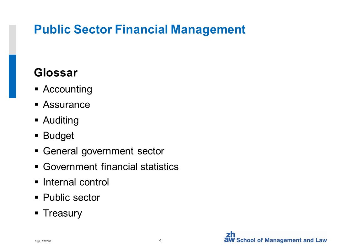 3.ppt, FS07/08 4 Public Sector Financial Management Glossar Accounting Assurance Auditing Budget General government sector Government financial statistics Internal control Public sector Treasury