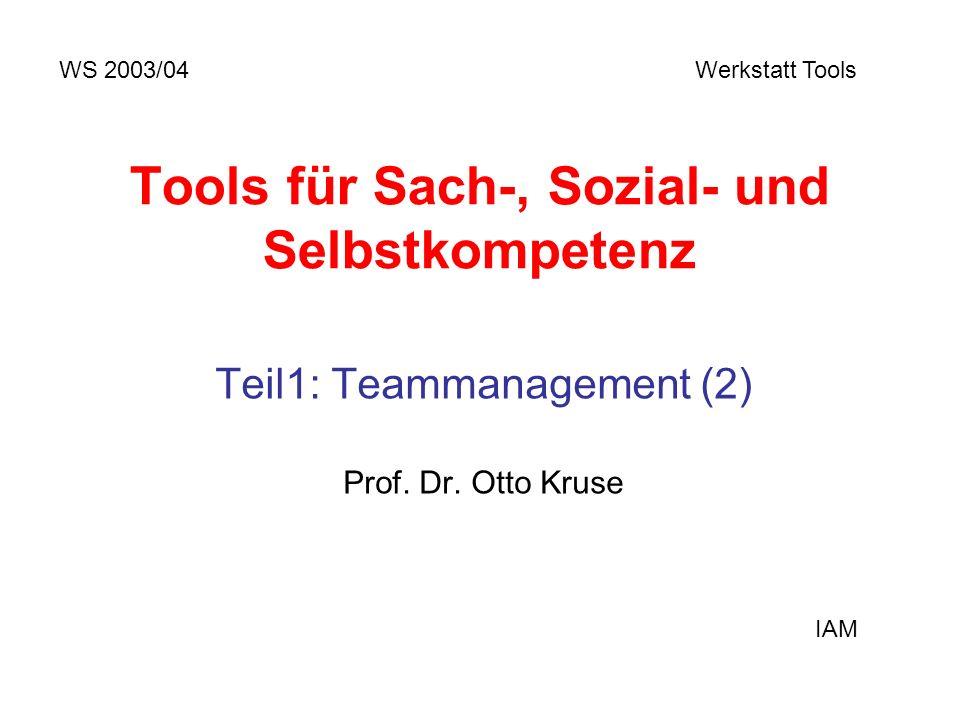 Tools für Sach-, Sozial- und Selbstkompetenz Teil1: Teammanagement (2) Prof. Dr. Otto Kruse WS 2003/04 Werkstatt Tools IAM