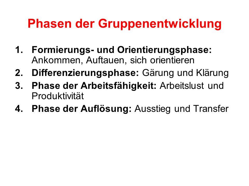 Phasen der Gruppenentwicklung 1.Formierungs- und Orientierungsphase: Ankommen, Auftauen, sich orientieren 2.Differenzierungsphase: Gärung und Klärung