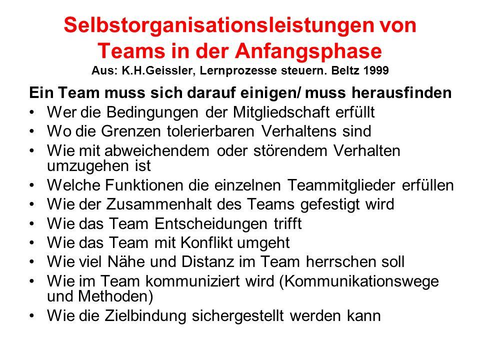 Selbstorganisationsleistungen von Teams in der Anfangsphase Aus: K.H.Geissler, Lernprozesse steuern. Beltz 1999 Ein Team muss sich darauf einigen/ mus