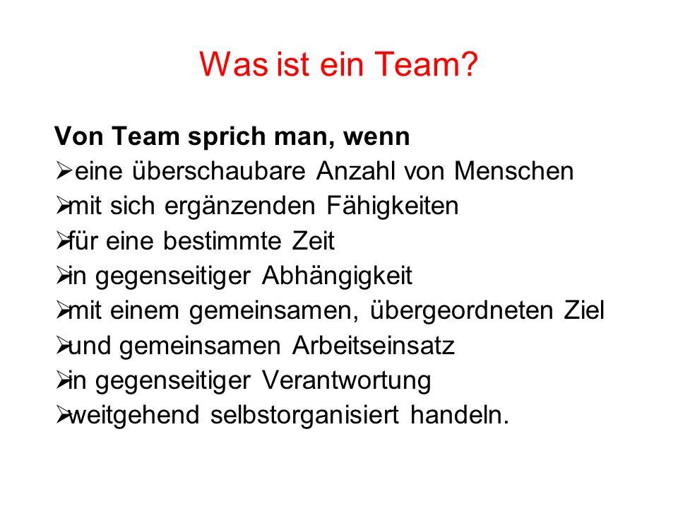 Was ist ein Team? Von Team sprich man, wenn eine überschaubare Anzahl von Menschen mit sich ergänzenden Fähigkeiten für eine bestimmte Zeit in gegense
