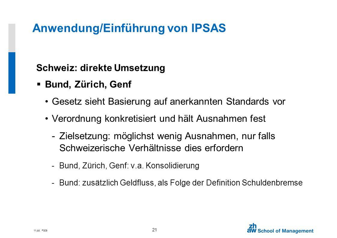 11.ppt, FS09 21 Schweiz: direkte Umsetzung Bund, Zürich, Genf Gesetz sieht Basierung auf anerkannten Standards vor Verordnung konkretisiert und hält A