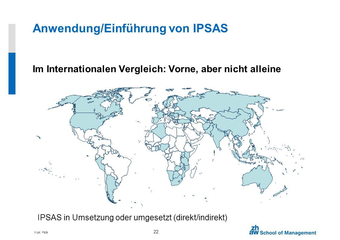 11.ppt, FS09 22 Im Internationalen Vergleich: Vorne, aber nicht alleine IPSAS in Umsetzung oder umgesetzt (direkt/indirekt) Anwendung/Einführung von I