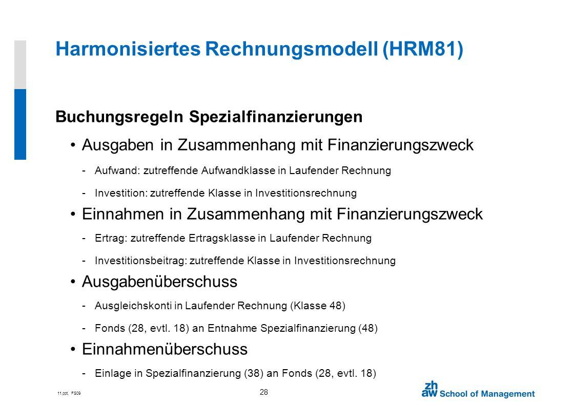 11.ppt, FS09 28 Harmonisiertes Rechnungsmodell (HRM81) Buchungsregeln Spezialfinanzierungen Ausgaben in Zusammenhang mit Finanzierungszweck -Aufwand: