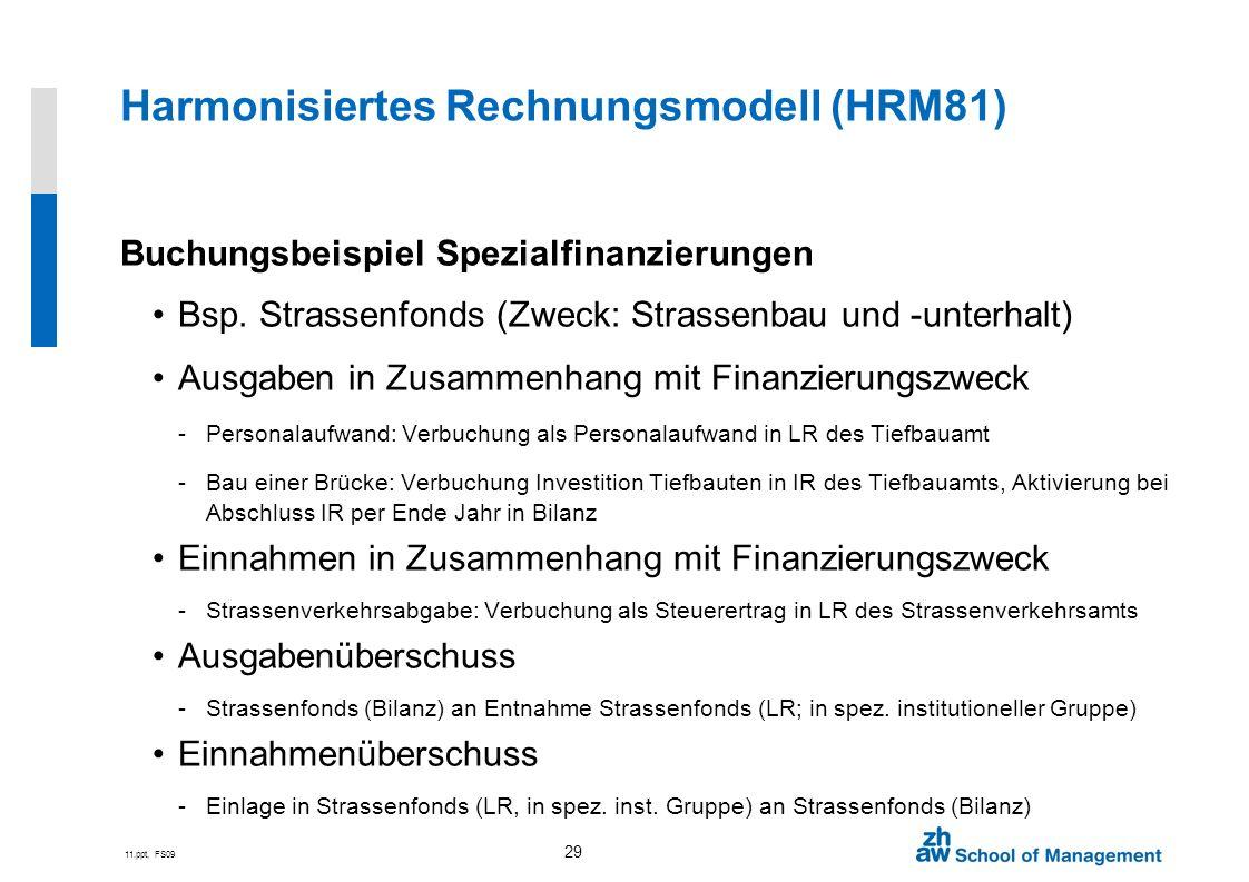 11.ppt, FS09 29 Harmonisiertes Rechnungsmodell (HRM81) Buchungsbeispiel Spezialfinanzierungen Bsp. Strassenfonds (Zweck: Strassenbau und -unterhalt) A