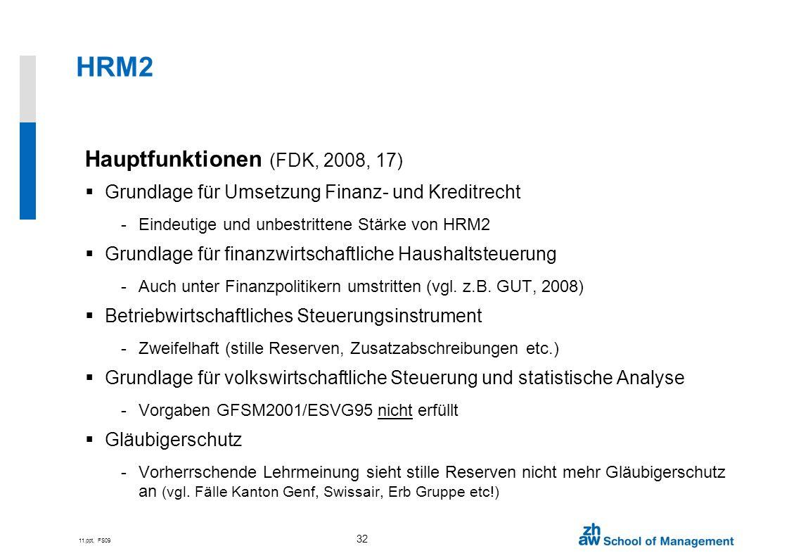 11.ppt, FS09 32 HRM2 Hauptfunktionen (FDK, 2008, 17) Grundlage für Umsetzung Finanz- und Kreditrecht -Eindeutige und unbestrittene Stärke von HRM2 Gru