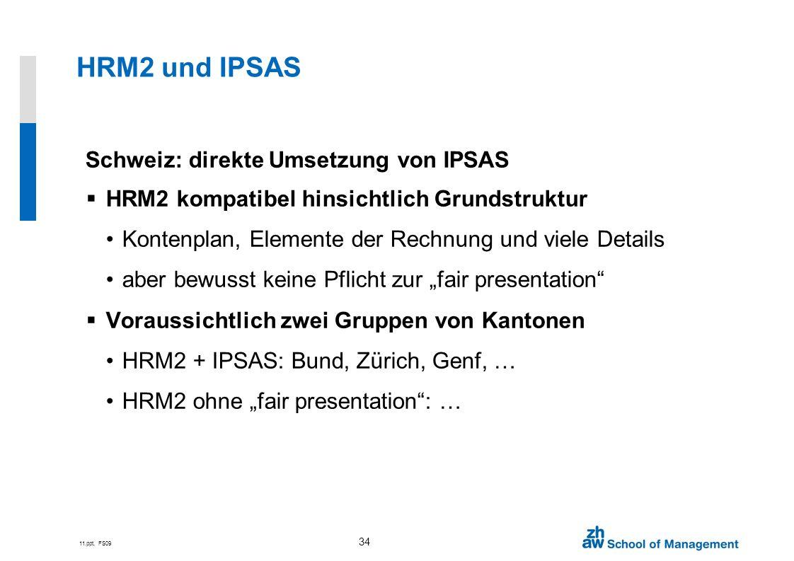 11.ppt, FS09 34 HRM2 und IPSAS Schweiz: direkte Umsetzung von IPSAS HRM2 kompatibel hinsichtlich Grundstruktur Kontenplan, Elemente der Rechnung und v