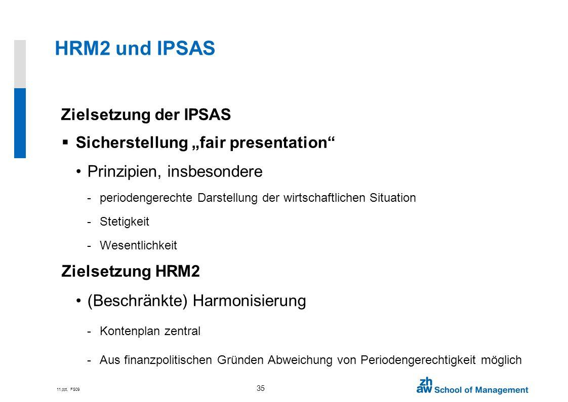 11.ppt, FS09 35 HRM2 und IPSAS Zielsetzung der IPSAS Sicherstellung fair presentation Prinzipien, insbesondere -periodengerechte Darstellung der wirts