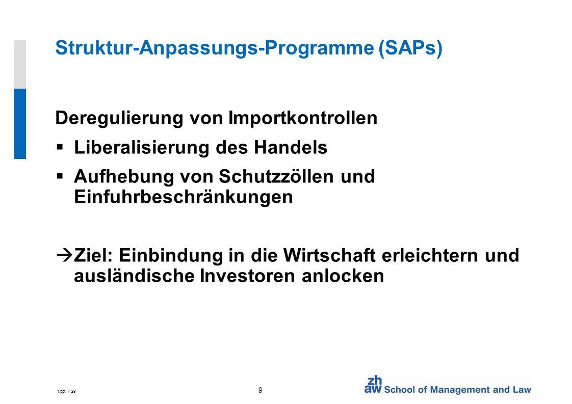 1.ppt, FS9 9 Struktur-Anpassungs-Programme (SAPs) Deregulierung von Importkontrollen Liberalisierung des Handels Aufhebung von Schutzzöllen und Einfuhrbeschränkungen Ziel: Einbindung in die Wirtschaft erleichtern und ausländische Investoren anlocken