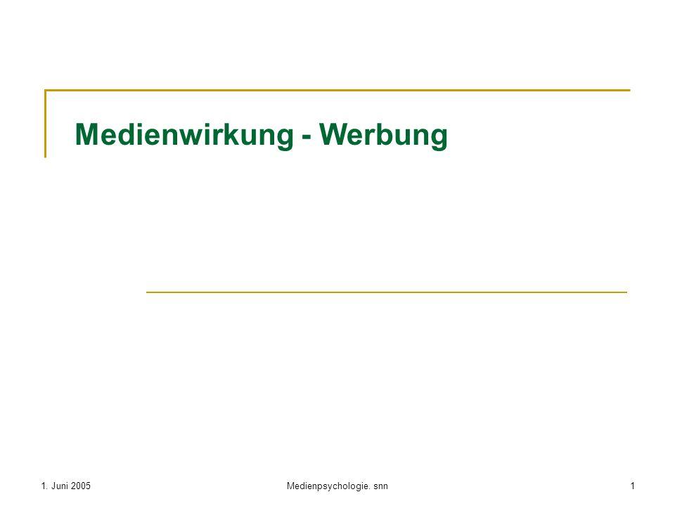 1. Juni 2005Medienpsychologie. snn1 Medienwirkung - Werbung