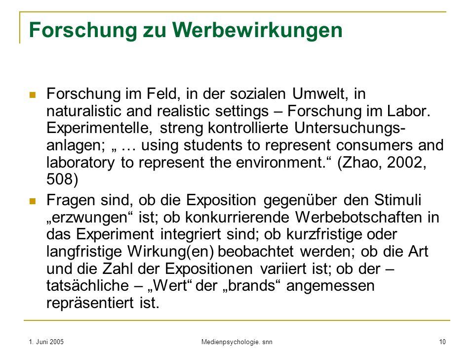 1. Juni 2005 Medienpsychologie. snn 10 Forschung zu Werbewirkungen Forschung im Feld, in der sozialen Umwelt, in naturalistic and realistic settings –