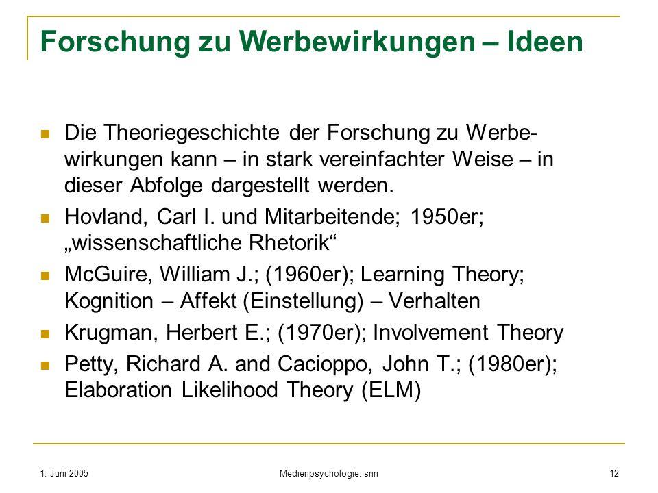 1. Juni 2005 Medienpsychologie. snn 12 Forschung zu Werbewirkungen – Ideen Die Theoriegeschichte der Forschung zu Werbe- wirkungen kann – in stark ver