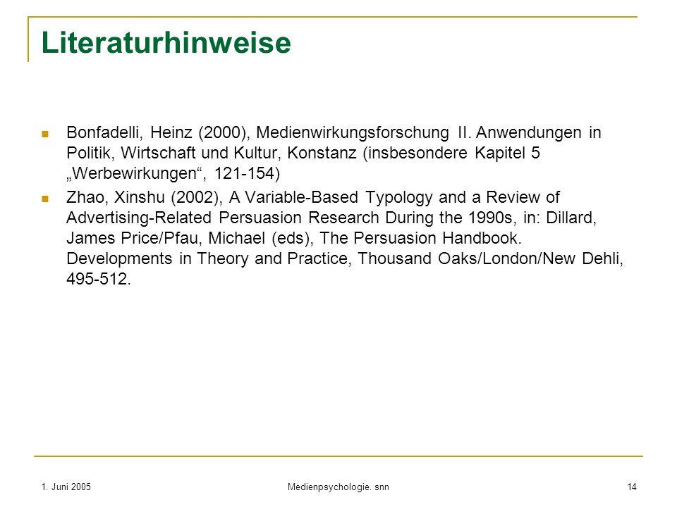 1. Juni 2005 Medienpsychologie. snn 14 Literaturhinweise Bonfadelli, Heinz (2000), Medienwirkungsforschung II. Anwendungen in Politik, Wirtschaft und