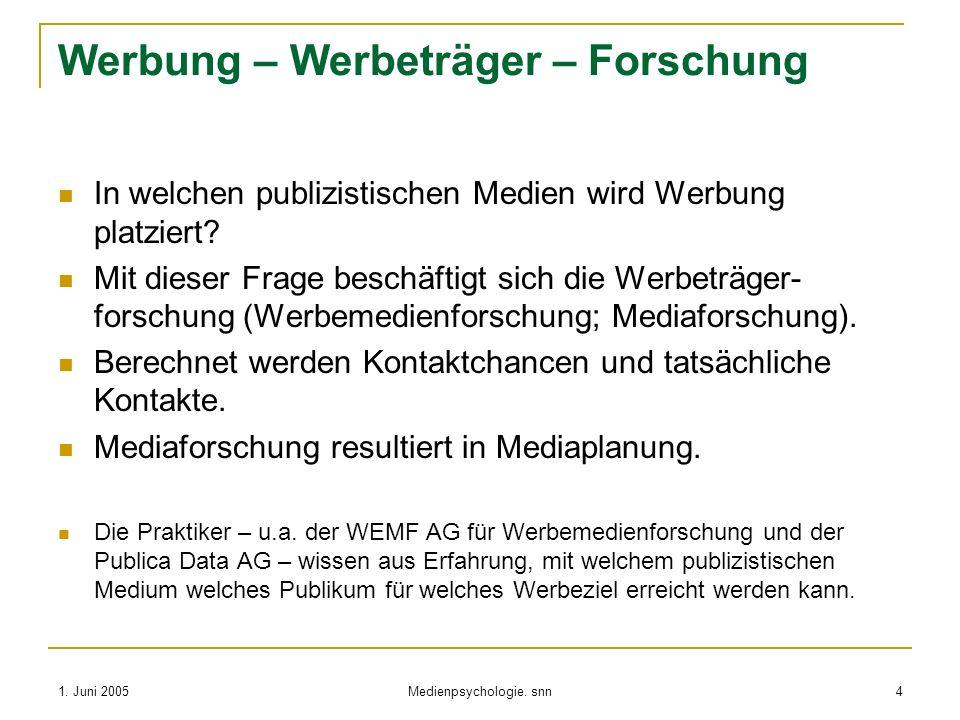 1. Juni 2005 Medienpsychologie. snn 4 Werbung – Werbeträger – Forschung In welchen publizistischen Medien wird Werbung platziert? Mit dieser Frage bes